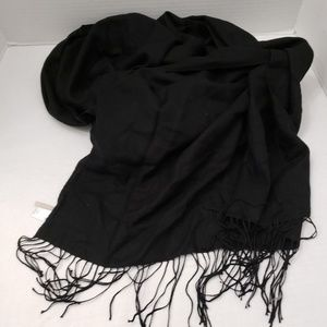 Nordstrom Scarf Black Cashmere Wool Tissue Weight